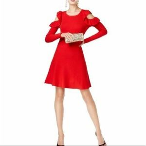 I-N-C Cold Shoulder Sweater Mini Dress